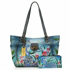 Anuschka Hand-Painted Leather East-West Tote Wallet Key Fob Midnight Peacock NWT
