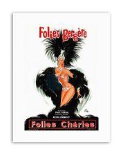 THEATRE CABARET FOLIES BERGERE SHOWGIRL FEATHER FRANCE Poster Canvas art Prints