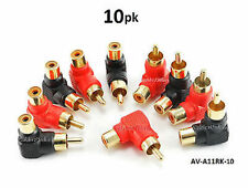 10-PACK Red/Black RCA Male Plug to RCA Female Right Angle Adapter,  AV-A11RK