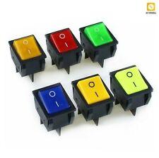 Rocker Switch Led Light Illuminated Dpst On Off 4pin Snap 20a250v 25a125v Ac