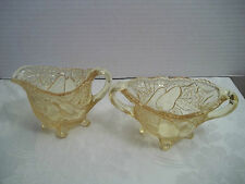 lovely Indiana Tiara glass yellow mist sweet pear creamer & sugar C 60s-70s wow/