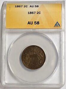 1867 2C Two Cent Piece (ANACS AU58) PL8595FL