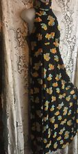 Vintage 70s Maxi Dress Floral Hippie Boho Disco Festival Halter Empire Keyhole M