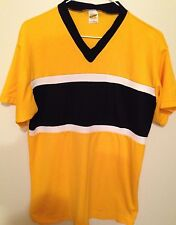 70's / 80's Russell Athletic T-Shirt - Sz: L - Yellow w/ Black & White Stripe