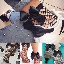 Fashion Women Bow Ruffle Fishnet Ankle High Socks Mesh Lace Fish Net Short Socks