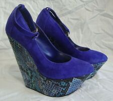 Wild Pair Lolita Platform Wedge High Heel Shoes 6 M Blue Suede Snake Skin Print