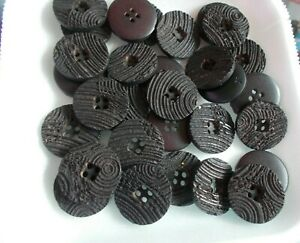 Lot of 30 plastic BLACK RIBBED buttons 4 HOLE 3/4TH INCH FOR SEWING/CRAFTS