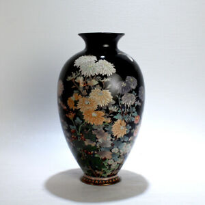 Antique Meiji Japanese Cloisonné Black Enamel Vase w Flowers & Butterflies - VR