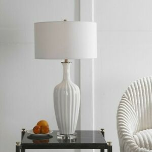 """STRAUSS CLASSIC MODERN FLUTED CERAMIC XXL 32"""" TABLE LAMP UTTERMOST 28374"""
