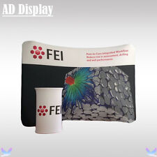 300*228cm Trade Show Curved Tension Fabric Banner Display Wall With Oval Table