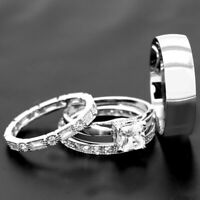 2.50ct princess diamond cut engagement ring her his trio set 14k white gold over