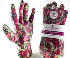 2 Pairs Ladies Gardening Gloves Medium Rose Garden Floral - Lightweight and for