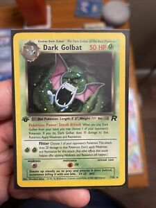 Pokémon Dark Golbat 1st Edition Holo Team Rocket  7/82 WotC LP Swirl 💫