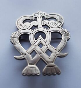 Ola Gorie Scottish 1973 Silver Luckenbooth Brooch Pin Boxed