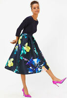 COAST NEW Solid Bodice Black & Multi Floral Print Full Midi Dress Sizes 6 to 18