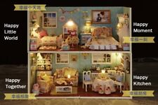 "DOLLHOUSE MINIATURE DIY KIT W/ LIGHTS, ""HAPPY LIFE SERIES"", ONE from 4 styles"
