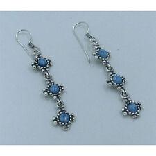 PETITE .925 Sterling Silver Natural Light Blue Denim Lapis Dangle Earrings