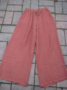 TALIA BENSON,Italy, As New, M, With A Gorgeous Wide leg, Linen, Fabulous Colour!