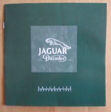 JAGUAR DAIMLER Range 1991-92 UK Mkt opuscolo listino prezzi-XJS doppio sei XJR-S