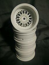 1/10th scale mesh style deep dish Rc drift rims/wheels white 9mm offset (4pcs)