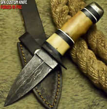SFK CUTLERY CUSTOM HANDMADE FIXED BLADE DAMASCUS FULL TANG HUNTER SKINNER KNIFE