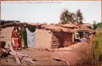 Native American 1915 Postcard: Mojave Desert Huts-California Coast Line Railroad