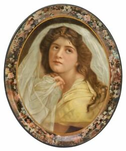 ca1901 LARGE SIZE TIN LITHOGRAPH ADVERTISING SERVING TRAY BEAUTIFUL YOUNG WOMAN