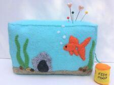 Pin Cushion Felt Embroidery Kit Aquarium Fish Tank Walnut Shells,Emery,Wool