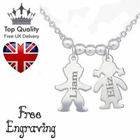 Personalised Jewellery Children/Child FamilyName Engraved Necklace Silver Plated