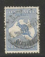 Australia 1913 Kangaroo/Map 6p ultramarine--Attractive Topical (8) used