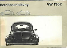 VW  KÄFER 1302  Bedienungsanleitung 1971 Betriebsanleitung Handbuch Cabrio BA