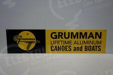 "GRUMMAN LIFETIME ALUMINUM USA DEALER SIGN DIE CUT Sign MINT ENAMEL 6"" BY 24"""