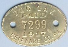 1917 Delaware County Pennsylvania Dog Tax Tag License Metal