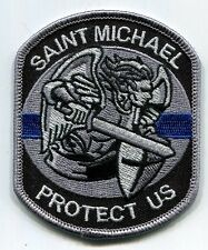 Saint Michael Protect Us Thin Blue Line Patch - HOOK & LOOP   Police   Sheriff