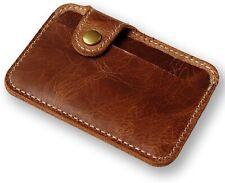 Money Clip Slim Credit Card ID Holder Wallet Leather Mini Clutch Bag Brown