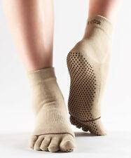 ToeSox Full Toe Ankle Grip Socks Tan Medium Women -8.5 to 10.5, Men -7.5 to 9.5