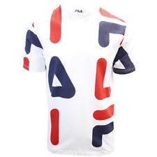 FILA Men's White Red Navy Letters S/S T-Shirt (S02D)