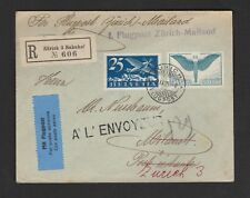 FF Fiirst Flight Cover Airmail 1925  Zurich Milano Italy registered