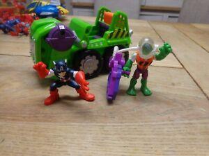 Marvel Super Hero Adventures Playskool Heroes rare hulk vehicle &captain America