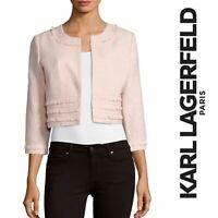 Karl Lagerfeld Women Size XS WHITE Open Front Tweed Fringe Blazer Jacket NEW