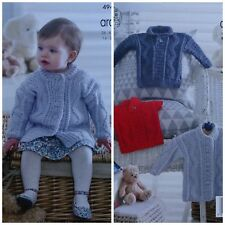 Baby KNITTING PATTERN Babies Textured Coat & Jumpers Aran King Cole 4949