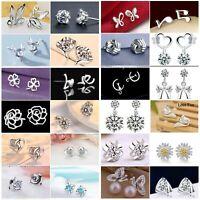 Genuine Sterling Silver 925 Stud Earrings, Cubic Zirconia Earring Crystal Womens
