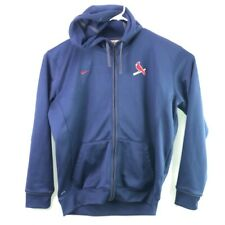 St Louis Cardinals Nike Team Dri Fit Mens Hooded Jacket Blue Zip Up Pockets XL