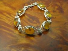 925 Sterling Silver Bracelet with Amber Decorations / Real Silver/14,6g/20,5 CM