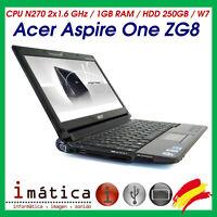 ORDENADOR PORTATIL ACER ASPIRE ONE ZG8 HDD 250GB / RAM 1GB / CPU N270 / SO W7