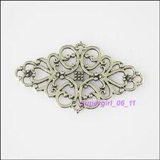 3Pcs Tibetan Silver Flower Charms Pendants Connectors 29x40mm