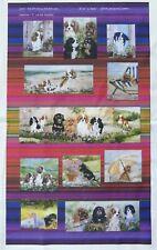 CAVALIER KING CHARLES SPANIEL DOG DESIGN FABRIC COLLAGE PRINT ARTIST SANDRA COEN