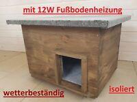Katzenhaus mit Heizung dunkelbraun Lasur wetterfest isoliert Katzenhütte beheizt