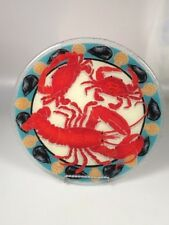 Peggy Karr Lobster crab glass plate dish crab feast clam bake seafood platter