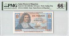 Saint Pierre & Miquelon ND (1950-60) P-23 PMG Gem UNC 66 EPQ 10 Francs